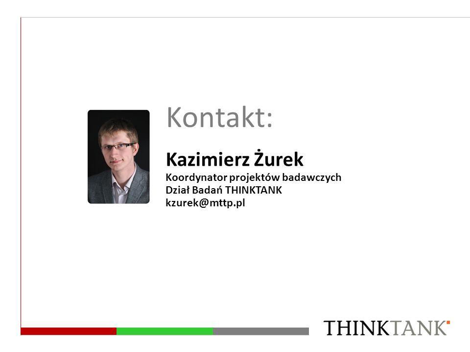 Kontakt: Kazimierz Żurek Koordynator projektów badawczych Dział Badań THINKTANK kzurek@mttp.pl