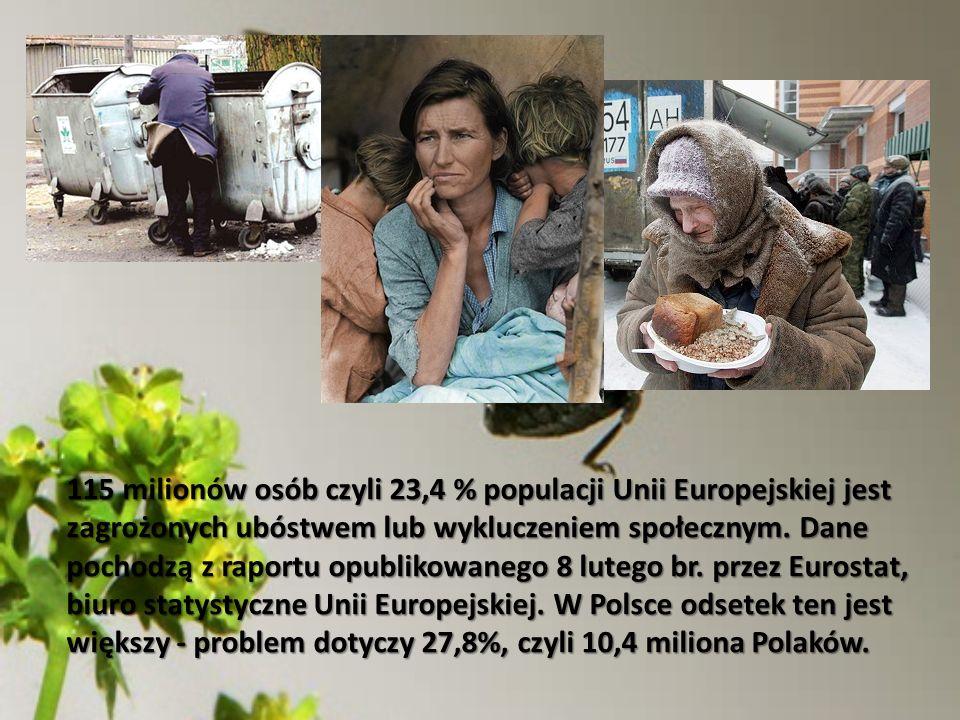 115 milionów osób czyli 23,4 % populacji Unii Europejskiej jest zagrożonych ubóstwem lub wykluczeniem społecznym. Dane pochodzą z raportu opublikowane