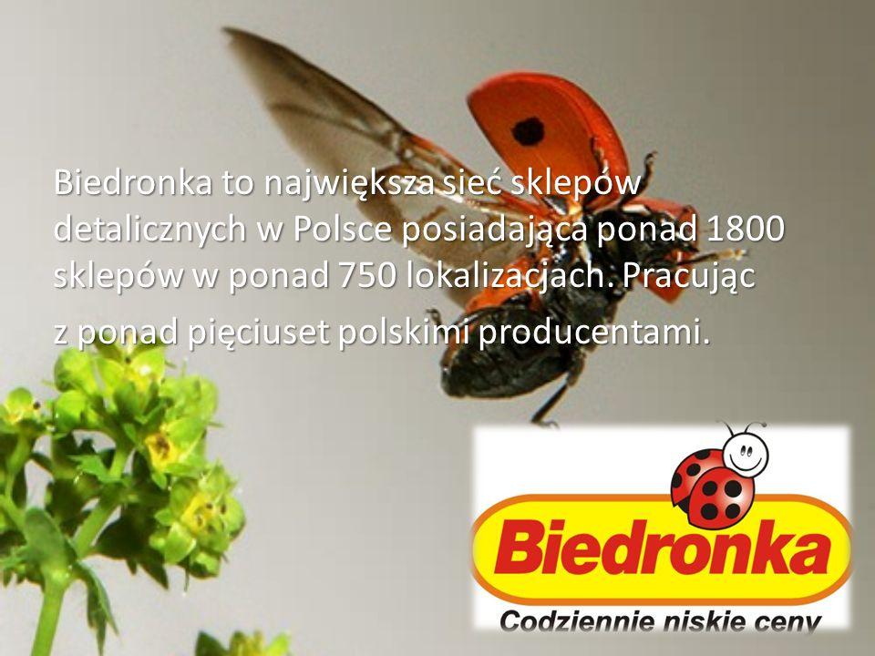 Biedronka to największa sieć sklepów detalicznych w Polsce posiadająca ponad 1800 sklepów w ponad 750 lokalizacjach. Pracując z ponad pięciuset polski