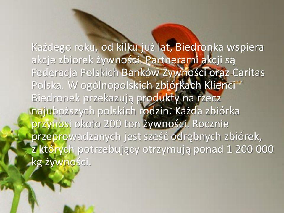 Każdego roku, od kilku już lat, Biedronka wspiera akcje zbiorek żywności. Partnerami akcji są Federacja Polskich Banków Żywności oraz Caritas Polska.