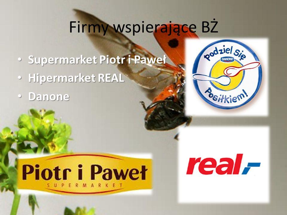 Firmy wspierające BŻ Supermarket Piotr i Paweł Supermarket Piotr i Paweł Hipermarket REAL Hipermarket REAL Danone Danone