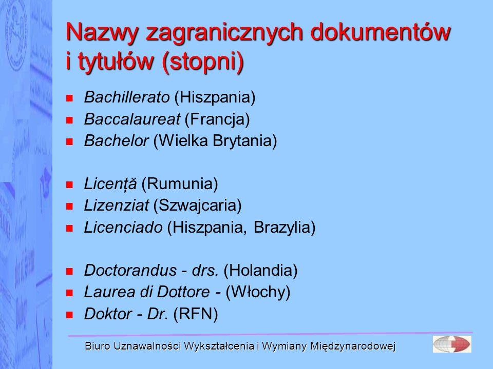 Biuro Uznawalności Wykształcenia i Wymiany Międzynarodowej Nazwy zagranicznych dokumentów i tytułów (stopni) Bachillerato (Hiszpania) Baccalaureat (Fr