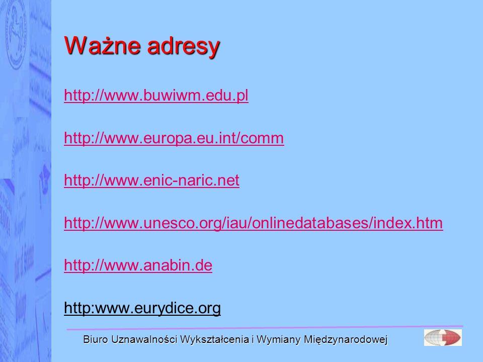 Biuro Uznawalności Wykształcenia i Wymiany Międzynarodowej Ważne adresy http://www.buwiwm.edu.pl http://www.europa.eu.int/comm http://www.enic-naric.n