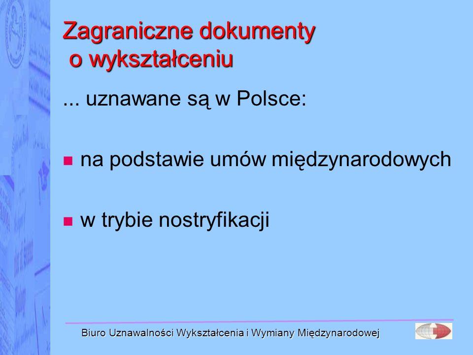Biuro Uznawalności Wykształcenia i Wymiany Międzynarodowej Zagraniczne dokumenty o wykształceniu... uznawane są w Polsce: na podstawie umów międzynaro