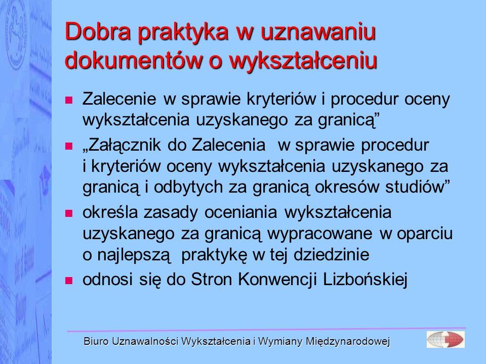 Biuro Uznawalności Wykształcenia i Wymiany Międzynarodowej Dobra praktyka w uznawaniu dokumentów o wykształceniu Zalecenie w sprawie kryteriów i proce