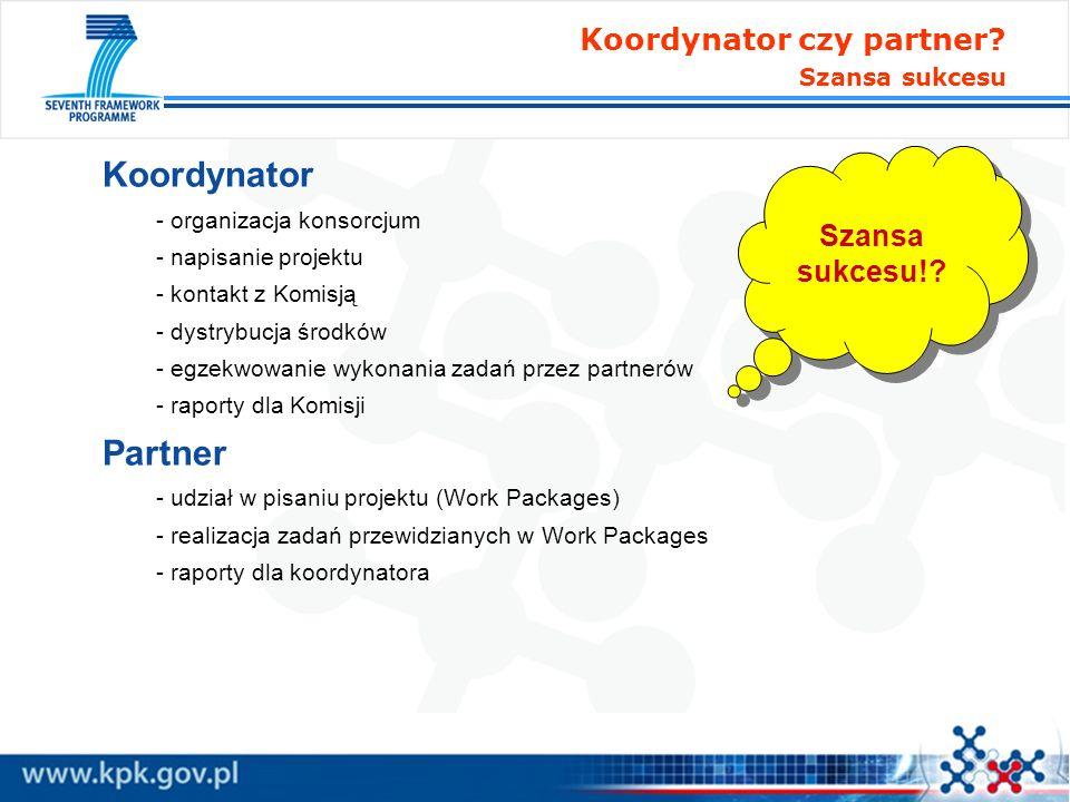 Koordynator - organizacja konsorcjum - napisanie projektu - kontakt z Komisją - dystrybucja środków - egzekwowanie wykonania zadań przez partnerów - r