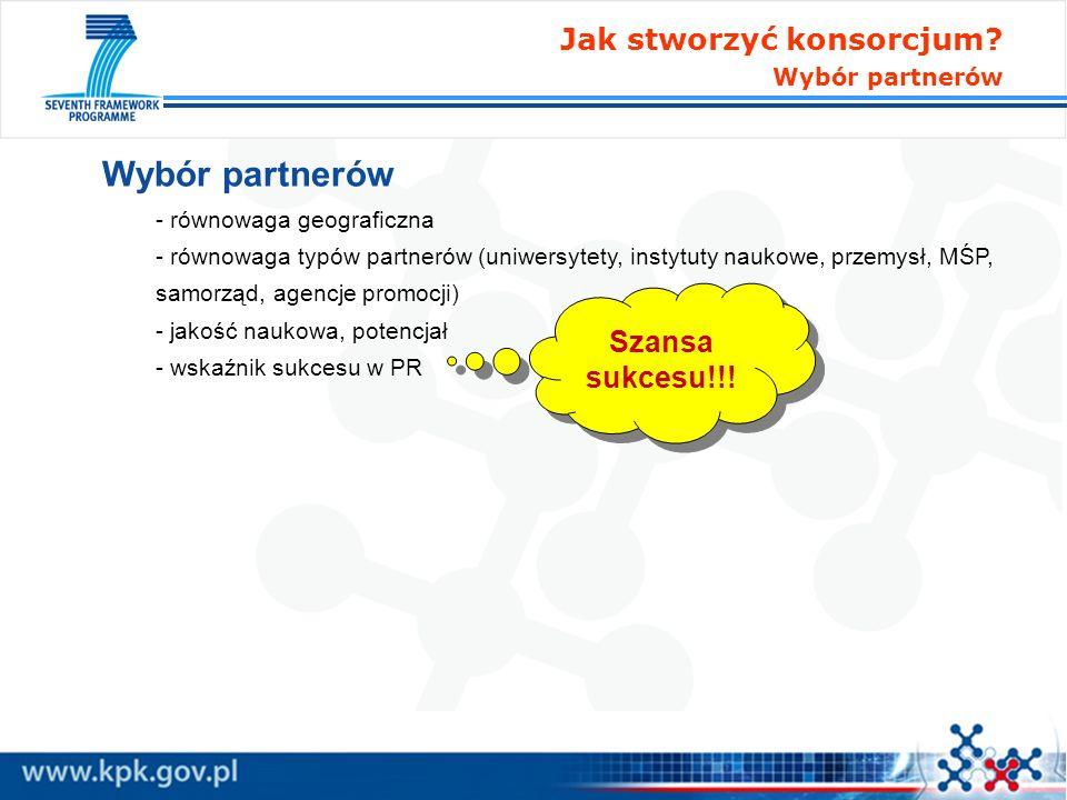 Wybór partnerów - równowaga geograficzna - równowaga typów partnerów (uniwersytety, instytuty naukowe, przemysł, MŚP, samorząd, agencje promocji) - ja