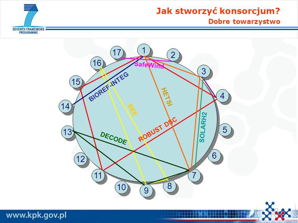 Jak stworzyć konsorcjum? Dobre towarzystwo 17 1 1 2 2 3 3 4 4 5 5 6 6 16 15 14 13 12 11 10 9 9 8 8 7 7 ROBUST DSC BIOREF-INTEG SafeWind BEE DECODE HET