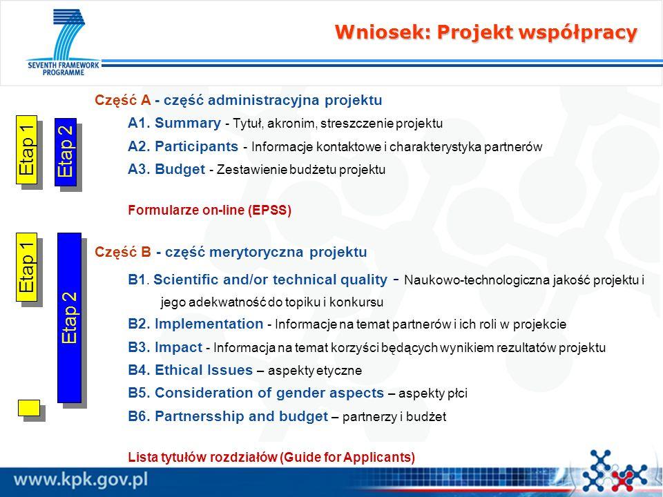 Część A - część administracyjna projektu A1. Summary - Tytuł, akronim, streszczenie projektu A2. Participants - Informacje kontaktowe i charakterystyk