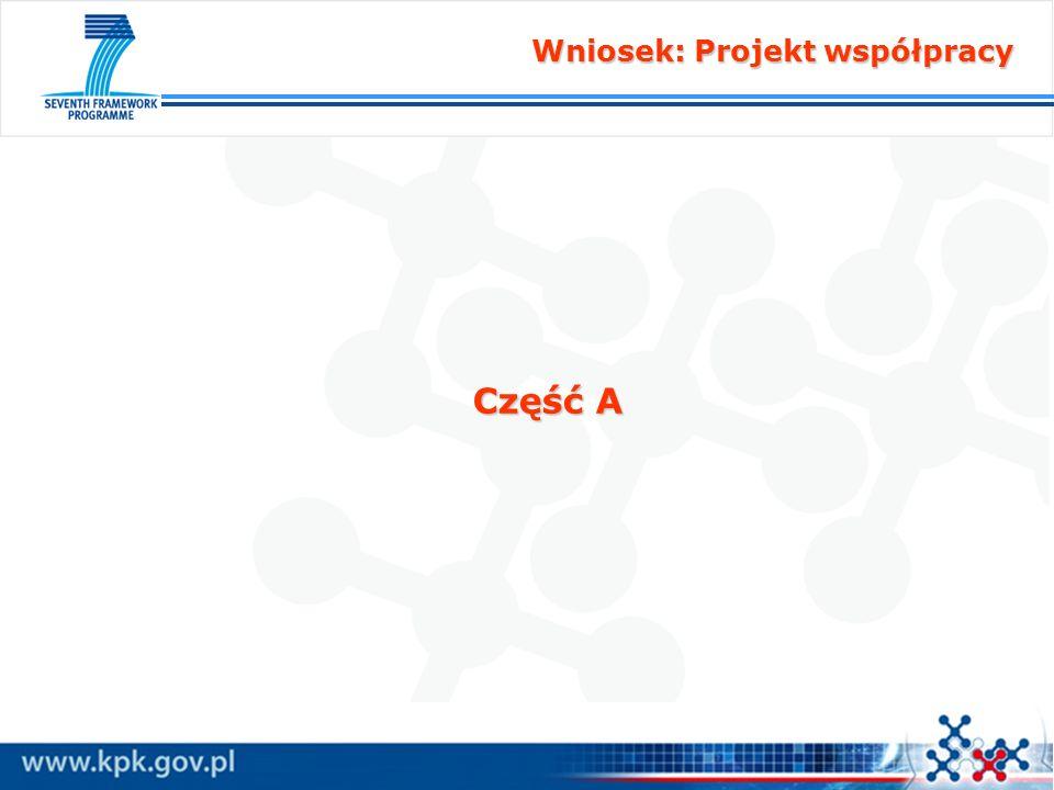 Wniosek: Projekt współpracy Wniosek: Projekt współpracy Część A1 A1.