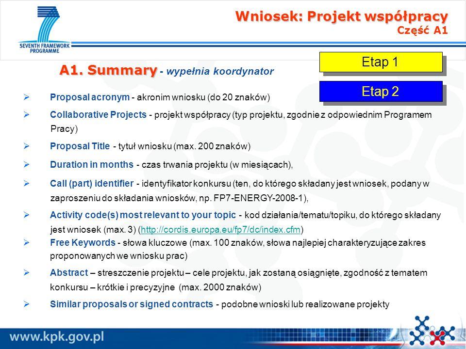 Wniosek: Projekt współpracy Wniosek: Projekt współpracy Część A1 A1. Summary A1. Summary - wypełnia koordynator Proposal acronym - akronim wniosku (do
