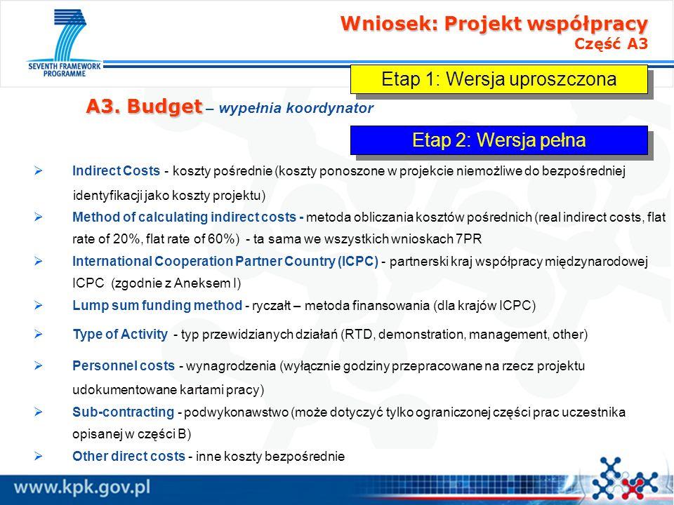 Wniosek: Projekt współpracy Wniosek: Projekt współpracy Część A3 A3. Budget A3. Budget – wypełnia koordynator Indirect Costs - koszty pośrednie (koszt