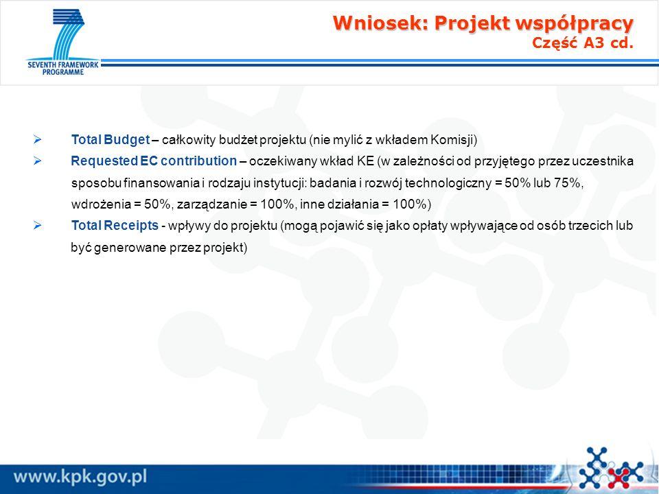 Wniosek: Projekt współpracy Wniosek: Projekt współpracy Część A3 cd. Total Budget – całkowity budżet projektu (nie mylić z wkładem Komisji) Requested