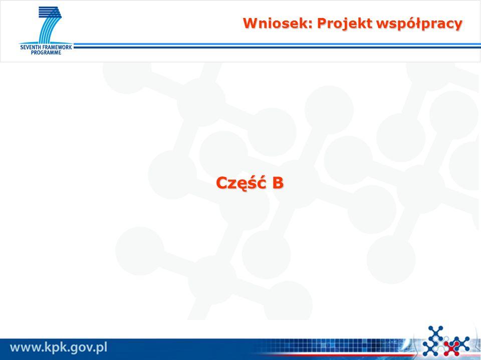 Wniosek: Projekt współpracy Część B