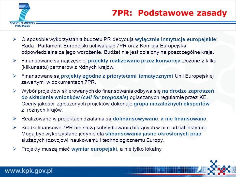 7PR: Podstawowe zasady O sposobie wykorzystania budżetu PR decydują wyłącznie instytucje europejskie: Rada i Parlament Europejski uchwalając 7PR oraz