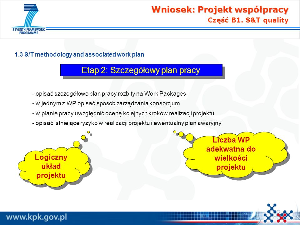Wniosek: Projekt współpracy Wniosek: Projekt współpracy Część B1. S&T quality 1.3 S/T methodology and associated work plan - opisać szczegółowo plan p