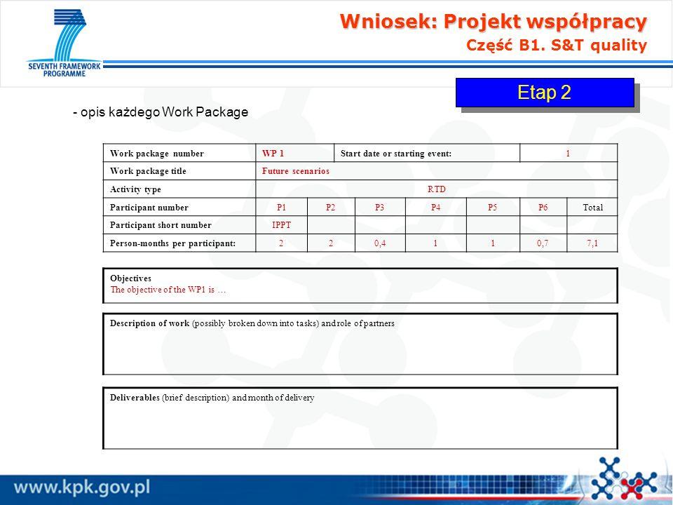 Wniosek: Projekt współpracy Wniosek: Projekt współpracy Część B1. S&T quality - opis każdego Work Package Work package numberWP 1Start date or startin