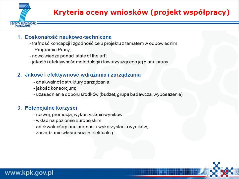 1. Doskonałość naukowo-techniczna - trafność koncepcji i zgodność celu projektu z tematem w odpowiednim Programie Pracy; - nowa wiedza ponad state of