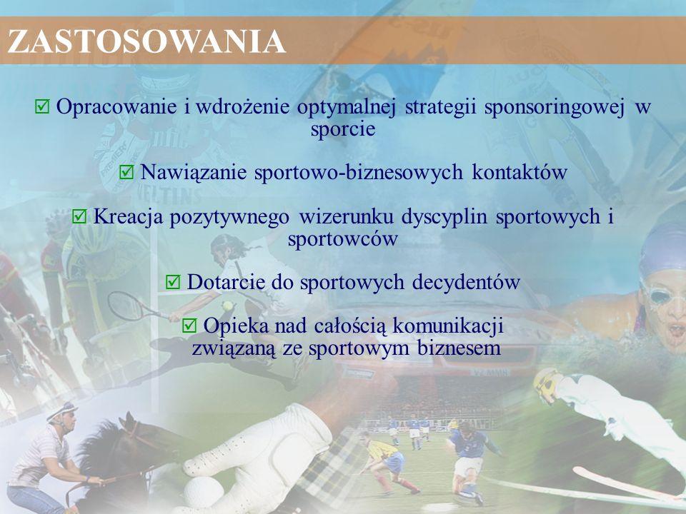 Opracowanie i wdrożenie optymalnej strategii sponsoringowej w sporcie Nawiązanie sportowo-biznesowych kontaktów Kreacja pozytywnego wizerunku dyscypli
