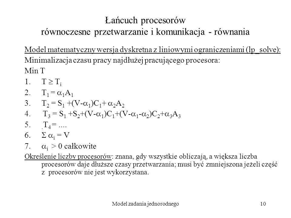 Model zadania jednorodnego10 Łańcuch procesorów równoczesne przetwarzanie i komunikacja - równania Model matematyczny wersja dyskretna z liniowymi ogr