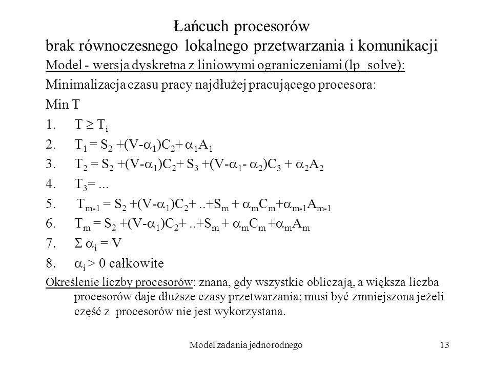 Model zadania jednorodnego13 Łańcuch procesorów brak równoczesnego lokalnego przetwarzania i komunikacji Model - wersja dyskretna z liniowymi ogranicz