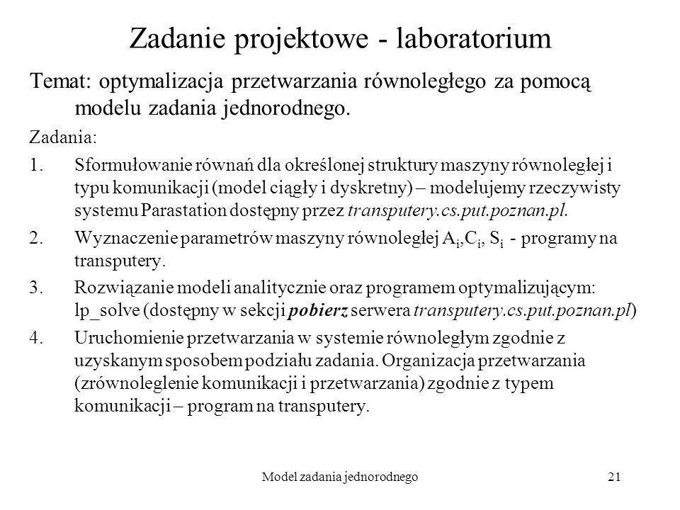 Model zadania jednorodnego21 Zadanie projektowe - laboratorium Temat: optymalizacja przetwarzania równoległego za pomocą modelu zadania jednorodnego.