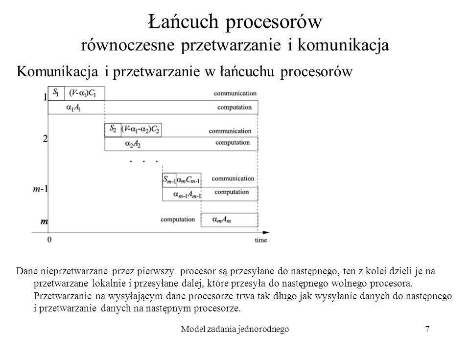 Model zadania jednorodnego8 Łańcuch procesorów równoczesne przetwarzanie i komunikacja - równania Model- wersja ciągła: Optymalizacja czasu przetwarzania równoznaczna z jednoczesnym zakończeniem obliczeń na wszystkich biorących w przetwarzaniu procesorach – jeżeli któryś liczyłby dłużej...