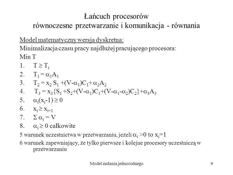 Model zadania jednorodnego10 Łańcuch procesorów równoczesne przetwarzanie i komunikacja - równania Model matematyczny wersja dyskretna z liniowymi ograniczeniami (lp_solve): Minimalizacja czasu pracy najdłużej pracującego procesora: Min T 1.T T i 2.T 1 = 1 A 1 3.T 2 = S 1 +(V- 1 )C 1 + 2 A 2 4.