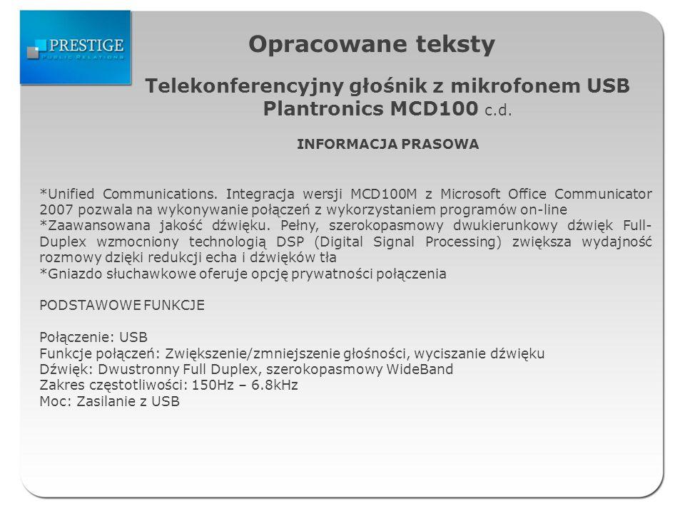 Opracowane teksty Telekonferencyjny głośnik z mikrofonem USB Plantronics MCD100 c.d.