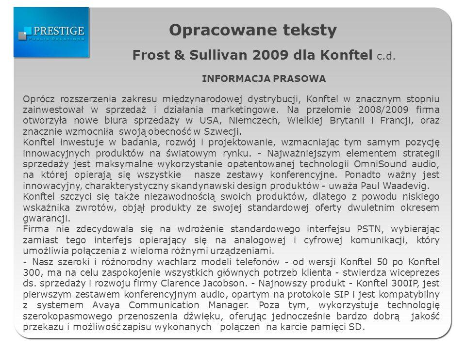 Opracowane teksty Frost & Sullivan 2009 dla Konftel c.d.