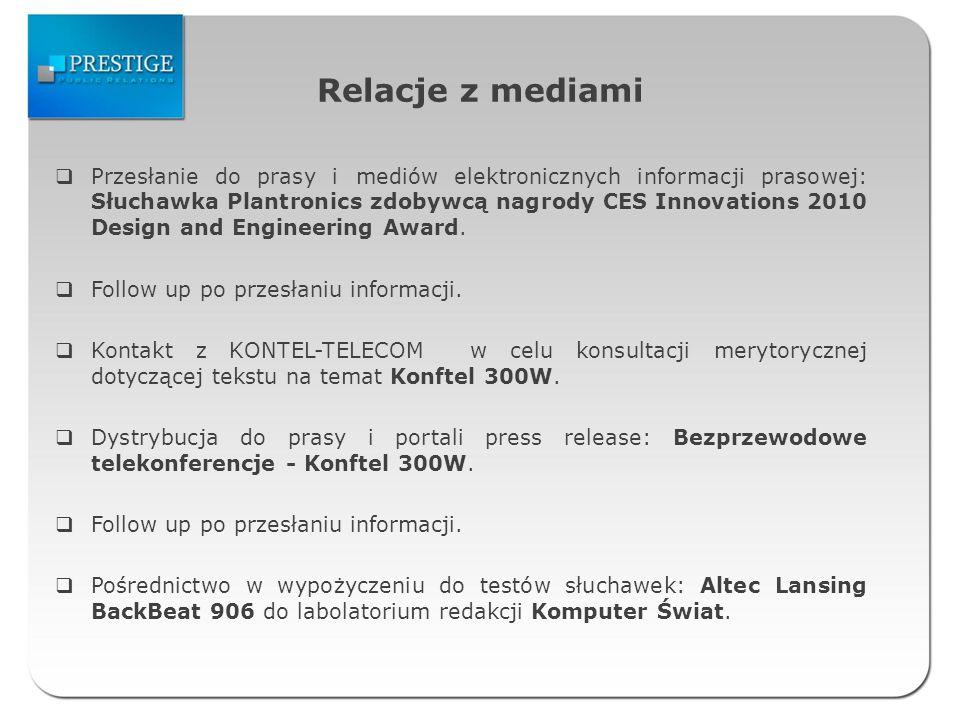 Relacje z mediami Przesłanie do prasy i mediów elektronicznych informacji prasowej: Słuchawka Plantronics zdobywcą nagrody CES Innovations 2010 Design and Engineering Award.
