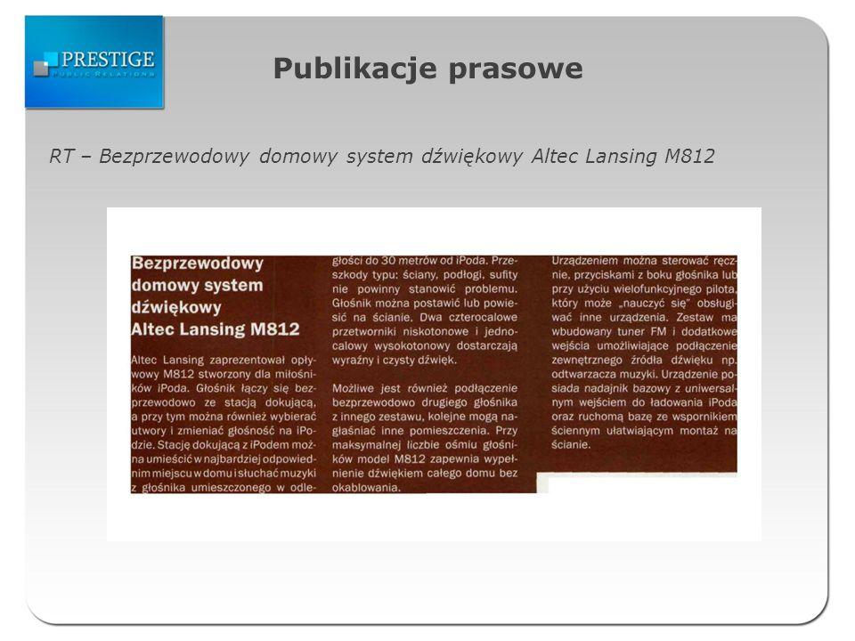 Publikacje prasowe RT – Bezprzewodowy domowy system dźwiękowy Altec Lansing M812