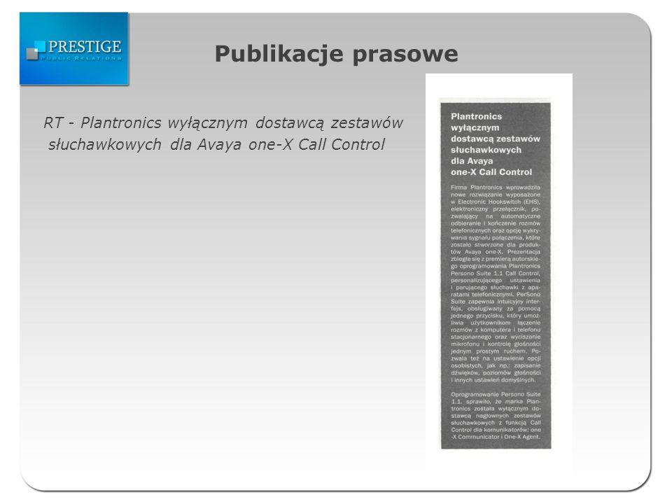 Publikacje prasowe RT - Plantronics wyłącznym dostawcą zestawów słuchawkowych dla Avaya one-X Call Control