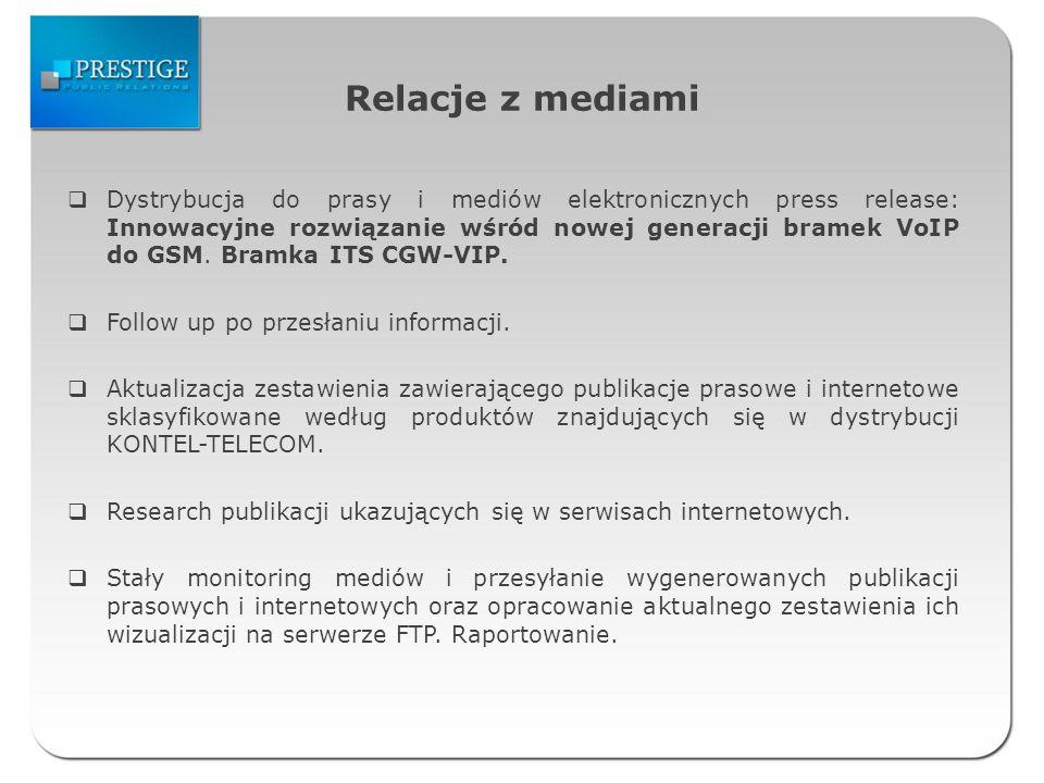 Relacje z mediami Dystrybucja do prasy i mediów elektronicznych press release: Innowacyjne rozwiązanie wśród nowej generacji bramek VoIP do GSM.