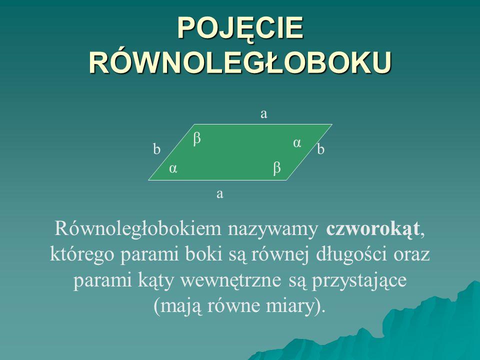 POJĘCIE RÓWNOLEGŁOBOKU Równoległobokiem nazywamy czworokąt, którego parami boki są równej długości oraz parami kąty wewnętrzne są przystające (mają równe miary).