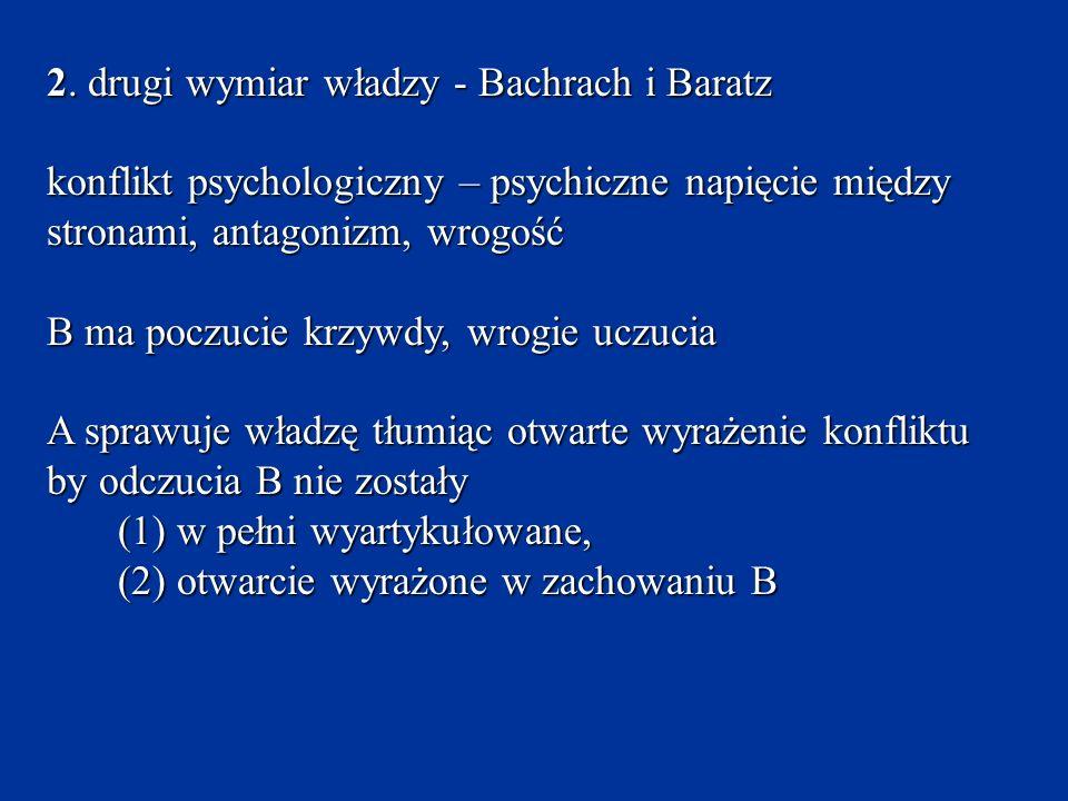 2. drugi wymiar władzy - Bachrach i Baratz konflikt psychologiczny – psychiczne napięcie między stronami, antagonizm, wrogość B ma poczucie krzywdy, w
