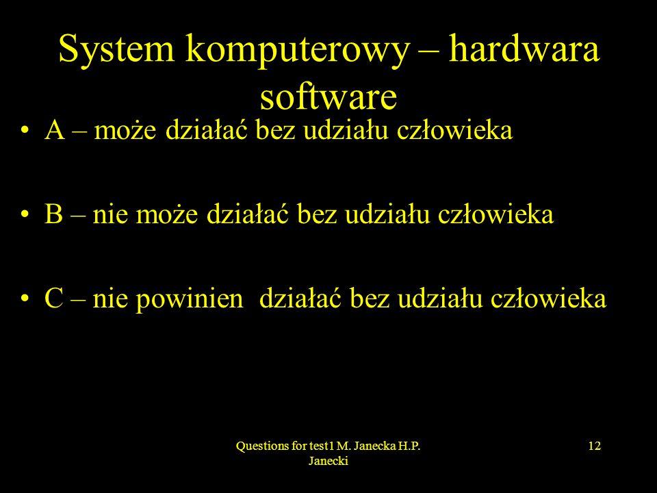 System komputerowy – hardwara software A – może działać bez udziału człowieka B – nie może działać bez udziału człowieka C – nie powinien działać bez