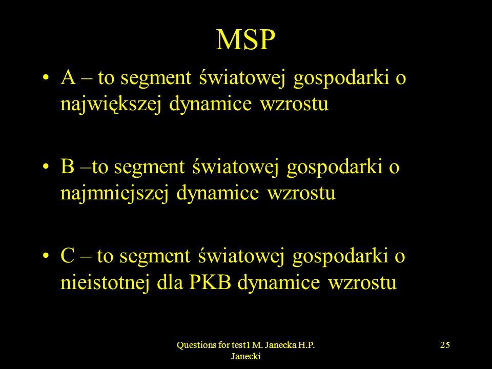 MSP A – to segment światowej gospodarki o największej dynamice wzrostu B –to segment światowej gospodarki o najmniejszej dynamice wzrostu C – to segme