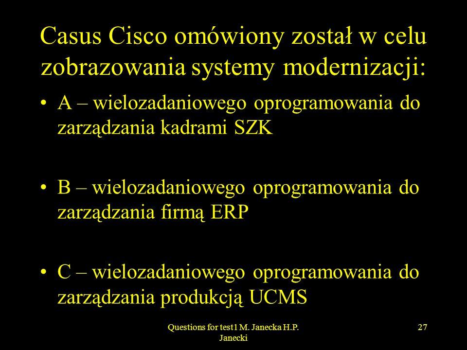 Casus Cisco omówiony został w celu zobrazowania systemy modernizacji: A – wielozadaniowego oprogramowania do zarządzania kadrami SZK B – wielozadaniow
