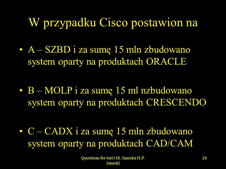 W przypadku Cisco postawion na A – SZBD i za sumę 15 mln zbudowano system oparty na produktach ORACLE B – MOLP i za sumę 15 ml nzbudowano system opart