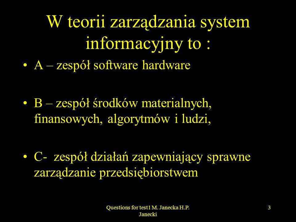 W teorii zarządzania system informacyjny to : A – zespół software hardware B – zespół środków materialnych, finansowych, algorytmów i ludzi, C- zespół