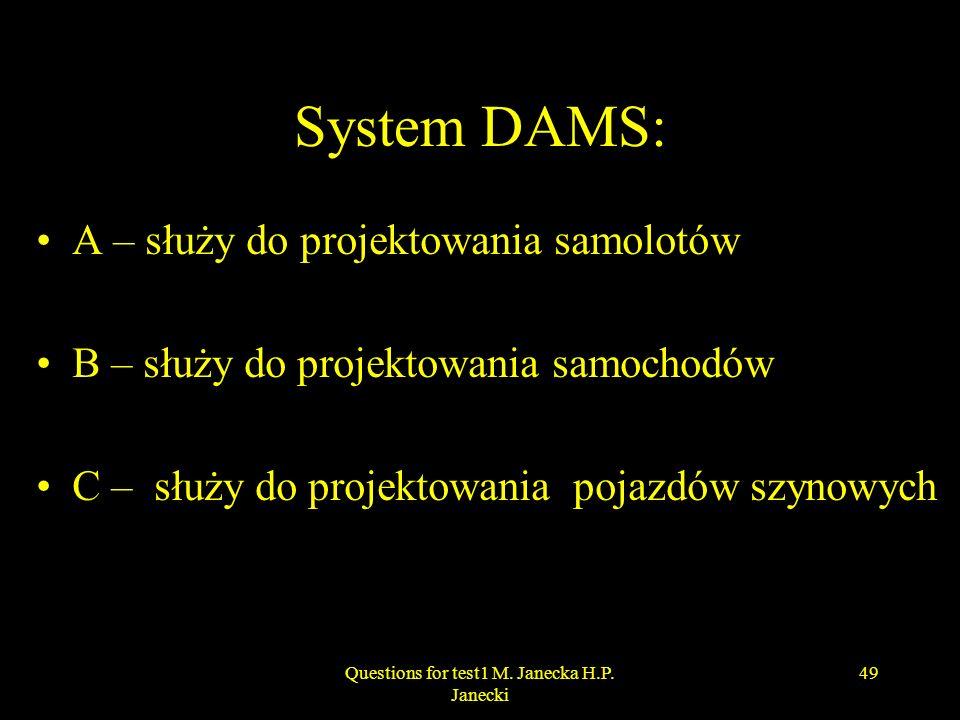 System DAMS: A – służy do projektowania samolotów B – służy do projektowania samochodów C – służy do projektowania pojazdów szynowych 49Questions for