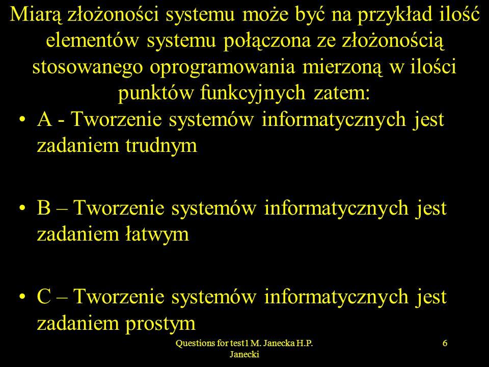 Miarą złożoności systemu może być na przykład ilość elementów systemu połączona ze złożonością stosowanego oprogramowania mierzoną w ilości punktów fu
