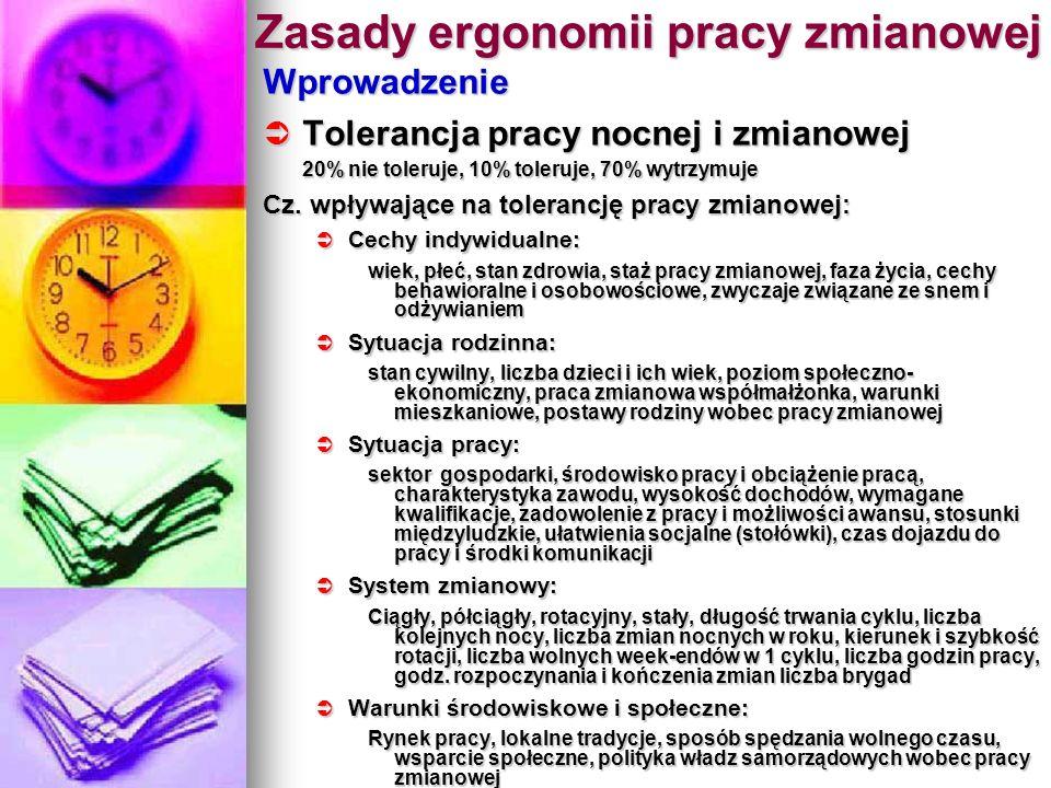 Zasady ergonomii pracy zmianowej Wprowadzenie Tolerancja pracy nocnej i zmianowej Tolerancja pracy nocnej i zmianowej 20% nie toleruje, 10% toleruje,