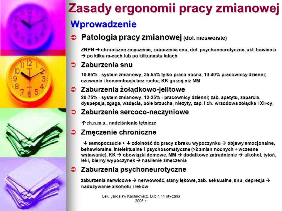 Lek. Jarosław Kachnowicz, Lubin 14 stycznia 2006 r. Zasady ergonomii pracy zmianowej Wprowadzenie Patologia pracy zmianowej (dol. nieswoiste) Patologi