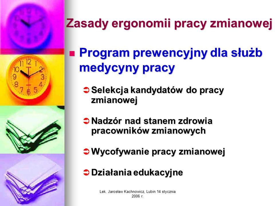 Lek. Jarosław Kachnowicz, Lubin 14 stycznia 2006 r. Zasady ergonomii pracy zmianowej Program prewencyjny dla służb medycyny pracy Program prewencyjny