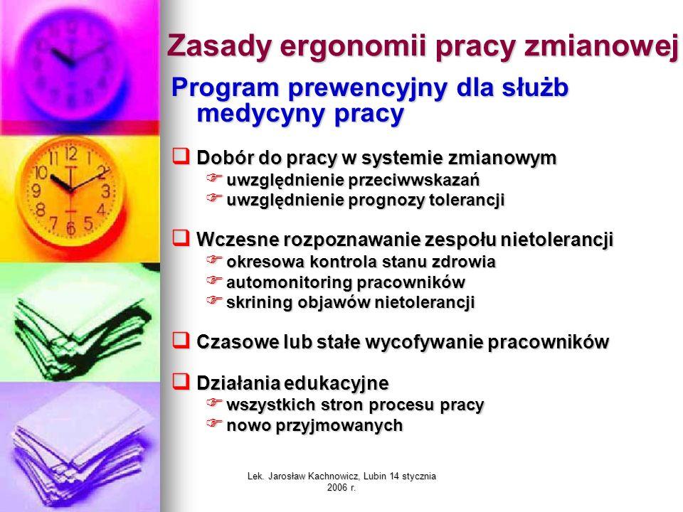 Lek. Jarosław Kachnowicz, Lubin 14 stycznia 2006 r. Zasady ergonomii pracy zmianowej Program prewencyjny dla służb medycyny pracy Dobór do pracy w sys