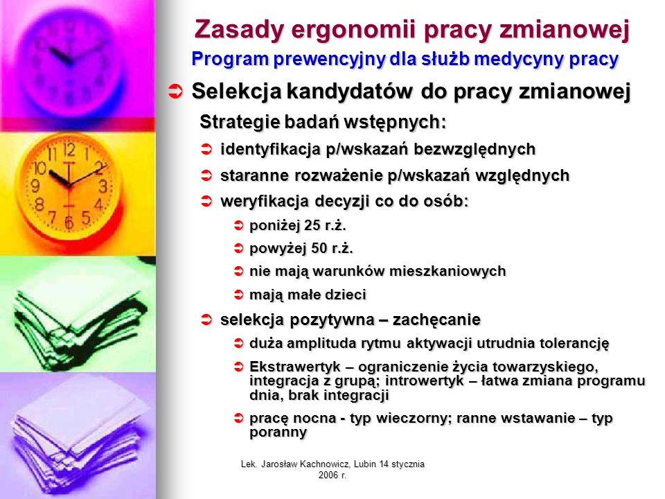 Lek. Jarosław Kachnowicz, Lubin 14 stycznia 2006 r. Zasady ergonomii pracy zmianowej Program prewencyjny dla służb medycyny pracy Selekcja kandydatów
