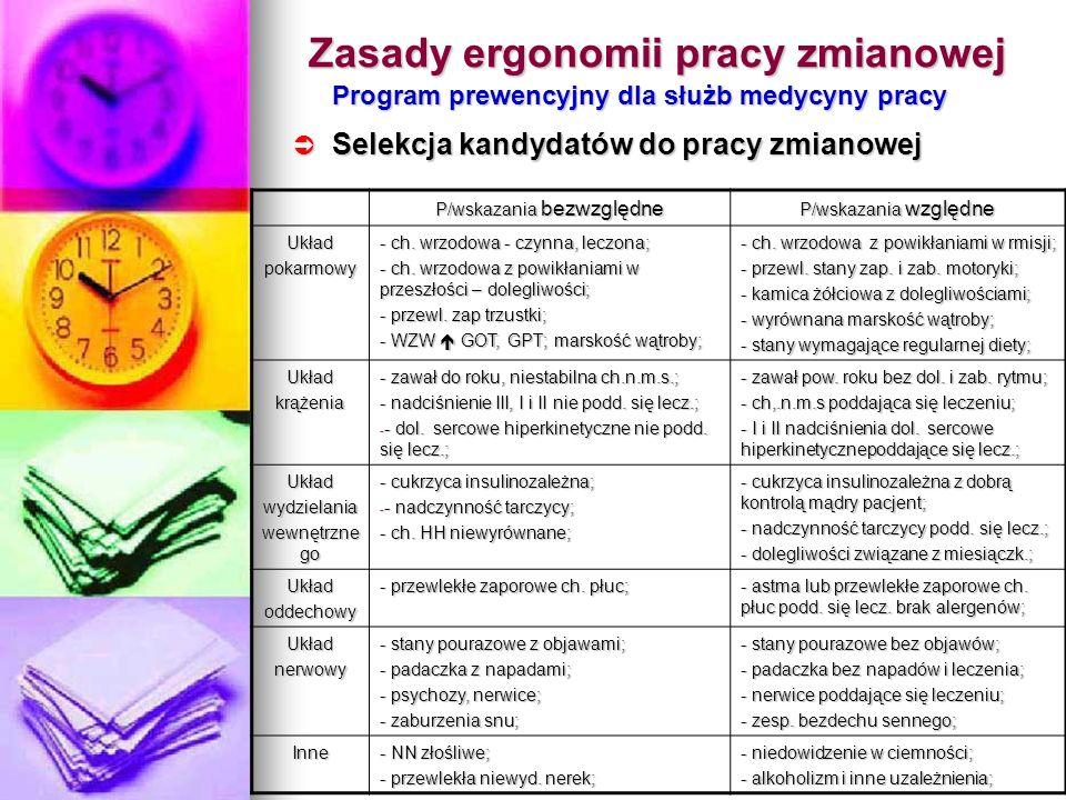 Zasady ergonomii pracy zmianowej Program prewencyjny dla służb medycyny pracy Selekcja kandydatów do pracy zmianowej Selekcja kandydatów do pracy zmia