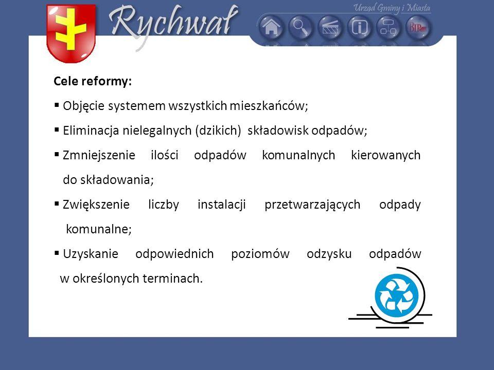 Cele reformy: Objęcie systemem wszystkich mieszkańców; Eliminacja nielegalnych (dzikich) składowisk odpadów; Zmniejszenie ilości odpadów komunalnych k
